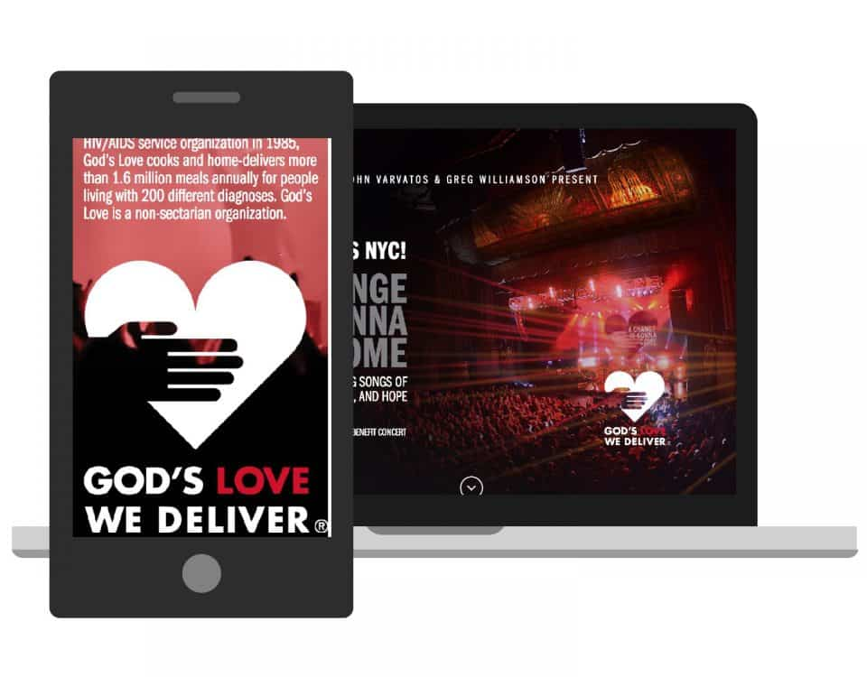 God's Love We Deliver microsite for Love Rocks concert